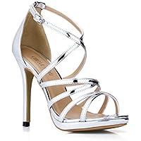 CHMILE CHAU-Zapatos para Mujer-Sandalias de Tacon Alto de Aguja-Elegantes-Novia-Boda-Nupcial-Vestido de Fiesta-Correa de Tobillo-Plataforma 1cm