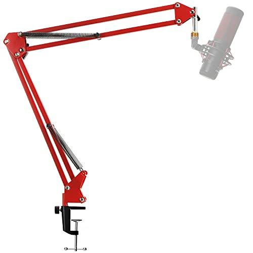 YOUSHARES Quadcast Brazo de Micrófono con Cubierta de Esponja - Soporte de Suspensión de Micrófono y Funda de Esponja para Hyperx Quadcast(Rojo)