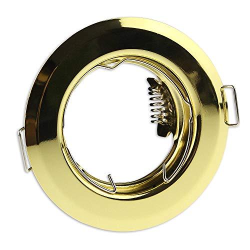 marco oro para proyector empotrado redondo super plano - marco de montaje para bombillas GU10 MR16 - Ø55 - taladro de 60mm empotrado - proyector empotrado
