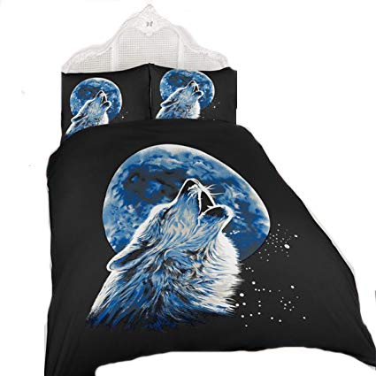 ARLINENS New 3D Effect Animal Printed duvet cover Bedding set with Pillocases in following Designs and Sizes: (WolfMoonlight, KING)