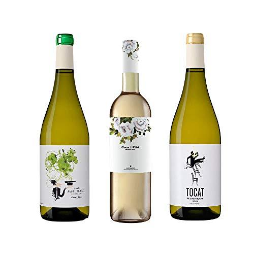Jaspi, Coca i Fitó y Tocat de l'Ala Blanc – D.O. Terra Alta/Montsant/Empordà – Pack Garnacha Blanca 3 botellas de vino – Crianza 3 a 4 meses – Selección Vins&Co – 750 ml