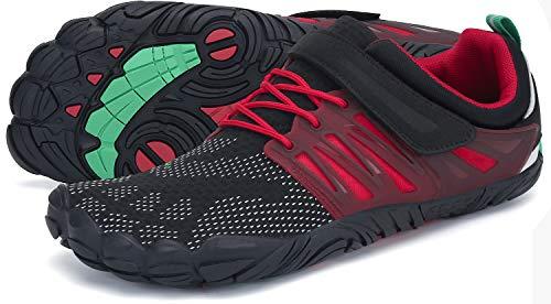 SAGUARO Barfussschuhe Herren Fitness Traillaufschuhe Barfuß Laufschuhe Männer Outdoor Zehenschuhe Five Finger Schuhe St.2 Rot 46