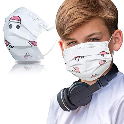 SYMTEX 50 Stück Kinder Mundschutzmasken Masken 3-lagig Mundschutz Gesichtsmaske Einwegmaske mund und nasenschutz (Schneemann)