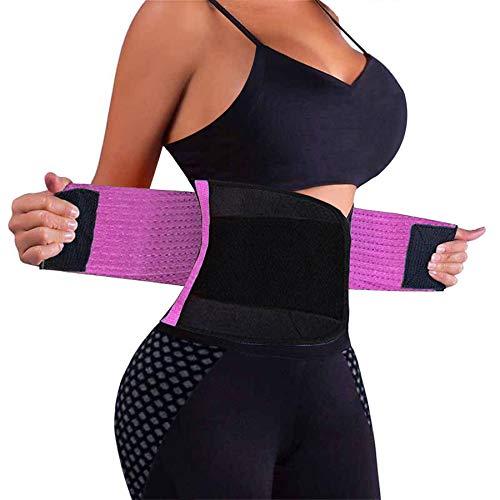 VENUZOR Waist Trainer Belt for Women - Waist Cincher Trimmer - Slimming Body Shaper Belt - Sport Girdle Belt (UP Graded)(Purple,X-Large)