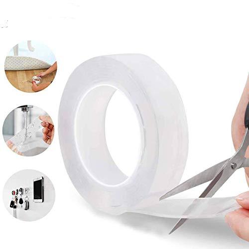 Ruban adhésif double face réutilisable réutilisable sans trace sans couture pour cuisine Transparent 5 m