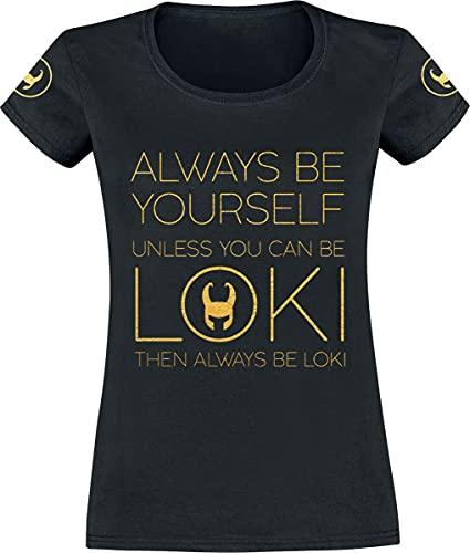 Loki Always Be Yourself Mujer Camiseta Negro M, 100% algodón, Regular