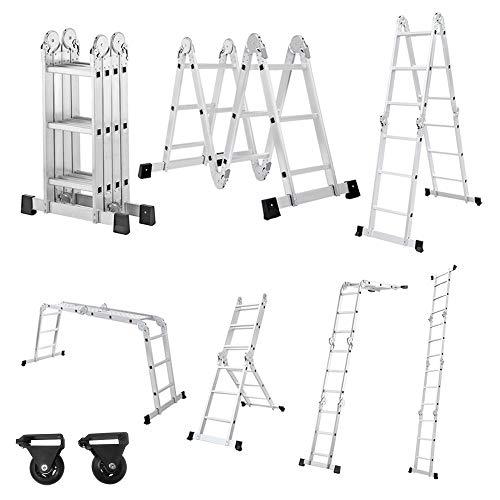 Aufun Escalera multifunción de aluminio 6 en 1, escalera plegable ajustable, escalera multiusos, soporta hasta 150 kg, escalera versátil con 2 placas de andamio, 4 x 3 peldaños