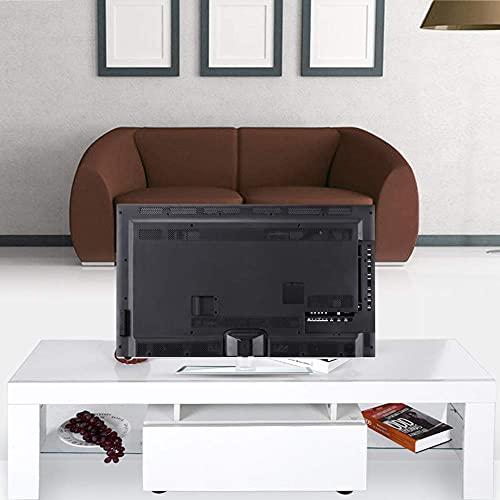 Meuble TV avec LED, 110-240V Armoire Meuble TV Basse Blanc avec Eclairage LED Coloré Cabinet de Télévision en MDF avec Tiroir et 2 Compartiments, Taille: 130 x 35 x 45cm