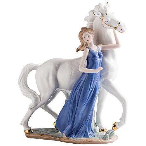 Diaosuw Skulpturen,Moderne Schlichtheit Pferd Und Mädchen Statue Figuren Keramische Skulptur Verzierungen Für Home Wohnzimmer Wein Schrank Tv-Schrank Dekor Handwerk Statuette, EIN