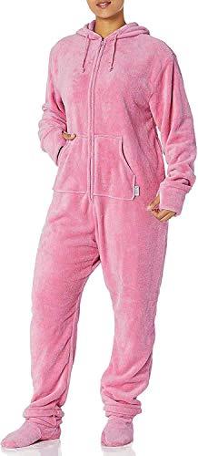 PajamaGram Women's Hoodie-Footie Fleece Plus Size Onesie Pajamas, Pink, 1X 16-18