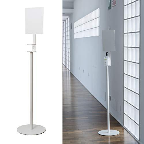 IPEA Piantana Porta Flacone IPESAN – Colonnina in Ferro per Dispenser di Gel Igienizzante con Piastra Altezza 145 cm, Colore Bianco