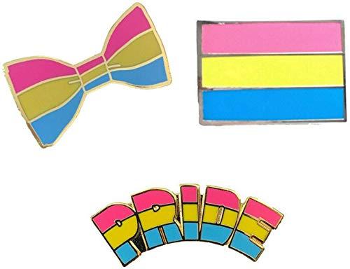 Smartbadge® Anstecknadel sexuell Stolz und Pfanne, länglich und Fliege, LGBT Harte Emaille