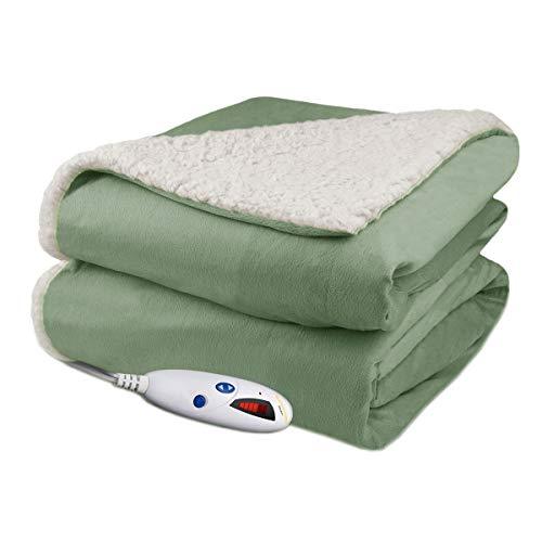 Biddeford Velour Sherpa Electric Heated Warming Throw Blanket Sage Washable Auto Shut Off 6 Heat Settings