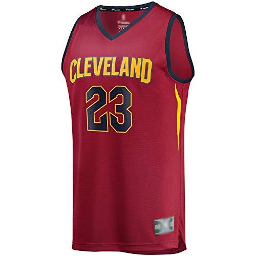 Camiseta de baloncesto para hombre Lebron Cleveland NO.23 Cavaliers James Fast Break Replica jugador Jersey Maroon transpirable sin mangas chaleco uniforme edición icono rojo