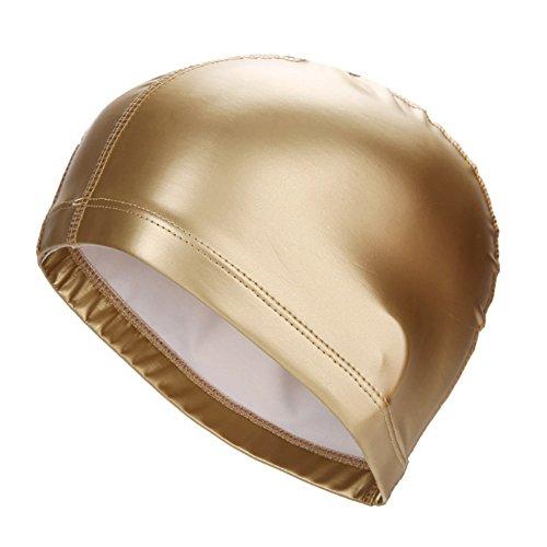 Ndier Gorro de natación para adultos, impermeable y elástico, de poliuretano, para hombre y mujer, dorado