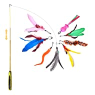 FYNIGO Cat Feather Toys,Interactive Cat Toys,Retractable Cat Teaser Wand with 8 Refills and 2 Spare ...