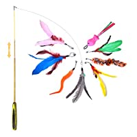 【2021 Upgraded】2021 upgraded wand, which is thicker and flexible, not easily broke and more durable 【Multiple Teasers for Fun】This cat toys set includes 8 pcs feather teaser refills, made of natural feathers, different styles including feathers,worms...