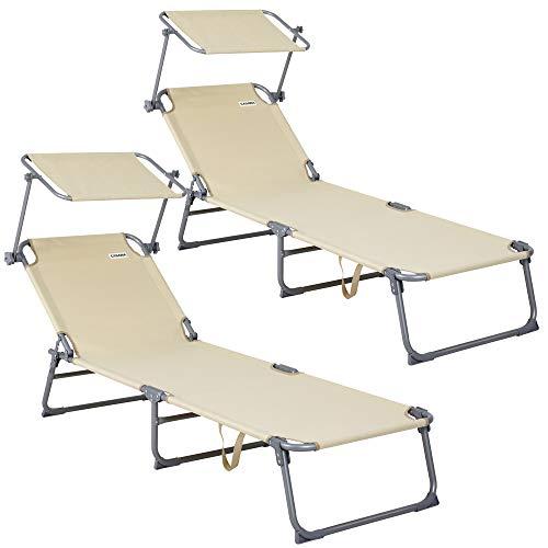 Deuba 2X Klappliege Hawaii beige/Hellbraun - Sonnenliege Gartenliege Relaxliege Freizeitliege Strandliege