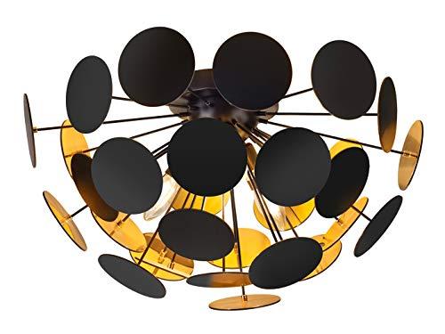 Opvallende plafondlamp met een lampenkap in mat zwart/goudkleurig Ø 54 cm met 3x E14 LED - bijzondere plafondverlichting