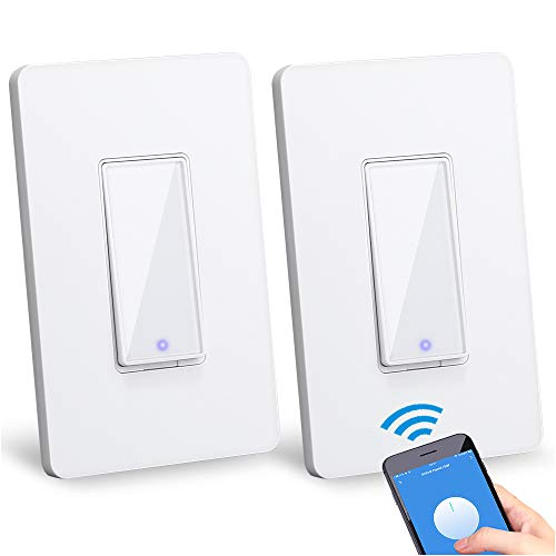Smart Light Switch Compatible with Alexa/Google Assistant/IFTTT, Wsdcam WiFi Wall Switch App and Voice Control, In-Wall Timer Switch for Lights Fans Motors, No Hub Required - 2 Pack