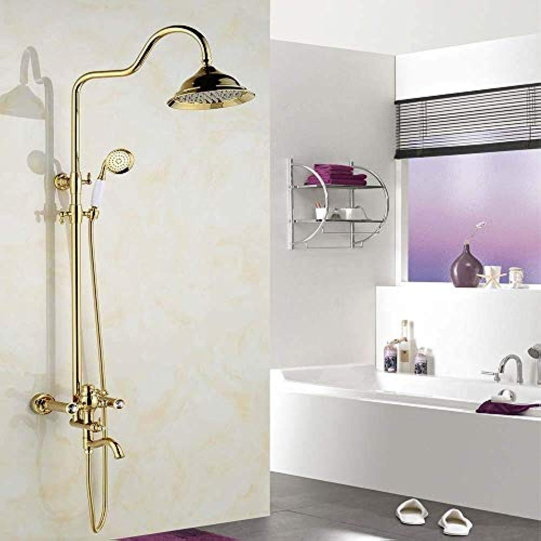 FuweiEncore Duschsule im europischen Stil Dusch-Duschset vollkupferne Golddusche Antike Duschkopf-Duschhahn