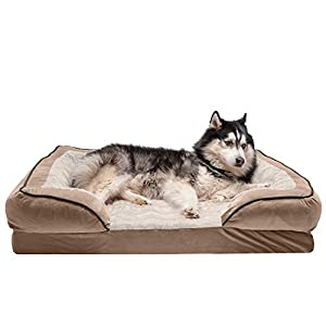 Furhaven Pet Dog Bed – Memory Foam Plush Velvet Waves Perfect Comfort Traditional Sofa-Style Living Room Couch Pet Bed with Removable Cover for Dogs and Cats, Brownstone, Jumbo