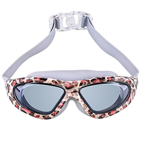 NuFeng Adult Fashion Comfortable Durable Design Anti Fog Mirrored Swim Goggles For Men and Women ,Leopard color