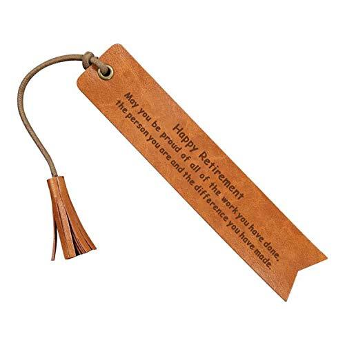 Happy Retirement Leather Bookmark Wedding Reader Leather Bookmark Wedding Party Gift Engraved Wedding Gift Wedding Reader (Happy Retirement)