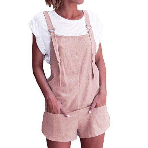 Dragon868 Damen Overall Kurz Elastische Taille Latzhosen Leinen Baumwolle Taschen Strampler Playsuit Shorts Hosen (Rosa, S)