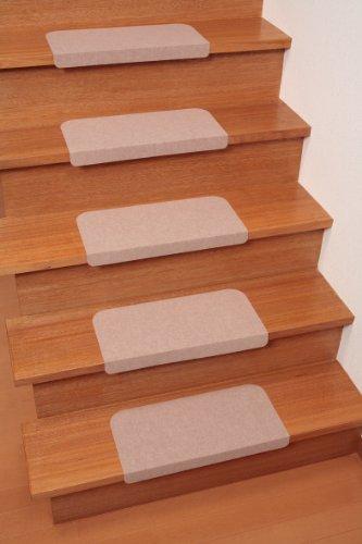 おくだけ吸着 折り曲げ付階段マット(15枚入) ベージュ