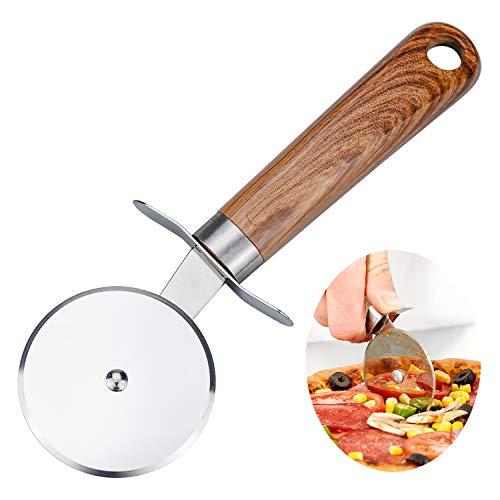 DESON Pizzaschneider Edelstahl Pizzaroller Pizzarad Pizza Cutter Pizzamesser Edelstahl Räder mit Fingerschutz und Kunststoff Griff für Angenehme Handhabung