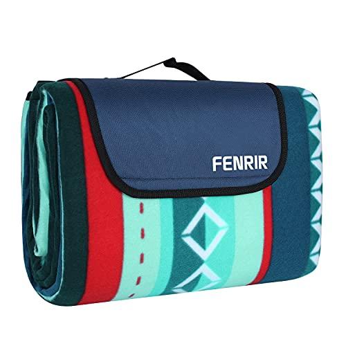 FENRIR 200 x 200 cm Picknickdecke XL Picknick-Matte Outdoor wasserdichte sanddichte Stranddecke tolle Fleece wärmeisoliert mit Tragegriff (Grün) (200x200cm)