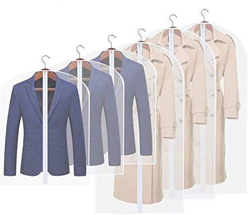 Yibak Garment Covers, Suit Bag Moth Proof Coat Bag PEVA Translucent Dress Cover Cloth Cover Bag Protector Reuse Full Zipper for Dress Costumes Suits Gowns Coats (3 PCS 60 * 100cm, 3 PCS 60 * 120cm)