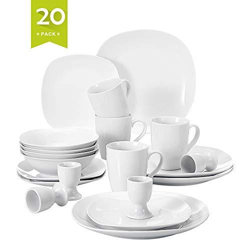 MALACASA, Serie Elisa, 20 teilig Set Porzellan Tafelservice Kombiservice Geschirrset, je 4 Dessertteller, Speiseteller, Müslischalen, Eierbecher, Becher für 4 Personen