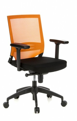 hjh OFFICE 657232 Profi Bürostuhl Porto Base Stoff/Netz Orange Drehstuhl ergonomisch, Armlehnen & Lordosenstütze verstellbar