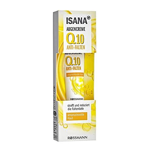 ISANA Q10 Augencreme 15 ml für anspruchsvolle Haut, Q10 & Corneosticker DS, reduziert die Faltentiefe*Aqua, Glycerin, Ethylhexyl Isononanoate, Methyl Glucose Sesquistearate, Glycine Soja Oil, Pantheno