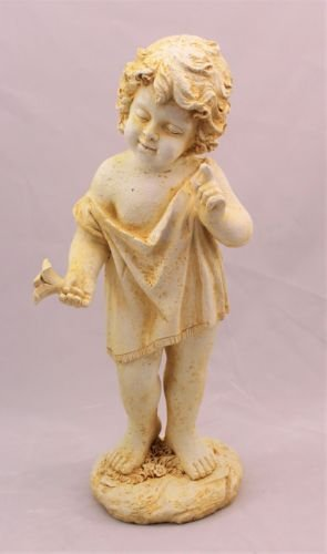 Large Cherub Garden Ornament Figure aged antique white finish little boy