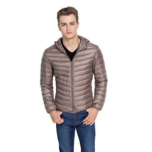 Hisea pour Homme Winter Autum Packable léger Court Duvet Doudoune pour Support à Coller/à Capuche - Marron - Medium