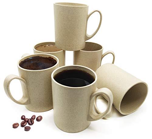 BioTasse© umweltfreundliche Kaffeetassen 6er Set, Teetasse, Trinkbecher, Getränke, Leicht, Bruchsicher, Spülmaschinen- Mikrowellentauglich