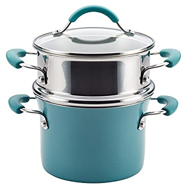 Rachael Ray Cucina Hard Porcelain Enamel Nonstick Multi-Pot/Steamer Set, 3-Quart, Agave Blue