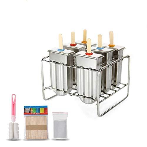 VIFERR Mold EIS am Stiel, 6 Stück/Set Stieleis-Form Edelstahl-EIS am Stiel-Form, DIY Stieleis Hersteller-EIS-Pop-Form mit Edelstahl-Stickhaltern