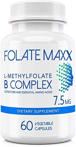 FolateMaxx L-Methylfolate 7.5 MG + B12 B6 B Complex 60 ct Professional Top Quality Active Folate Non-GMO Gluten Free Methyl Folate, 5-MTHF