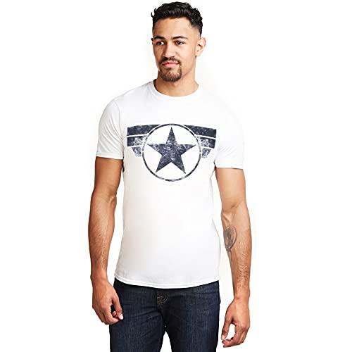 Marvel Captain America-Cap Logo Camiseta, Blanco (White White), Medium para Hombre