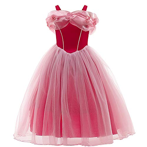 OBEEII Disfraz de Princesa Aurora Carnaval Largo Vestido, Traje de Bella Durmiente Disfraces para Holloween Fiesta Navidad De Ceremonia Cumpleaños Cosplay Costume para Niña Chicas aurora02 3-4 Años