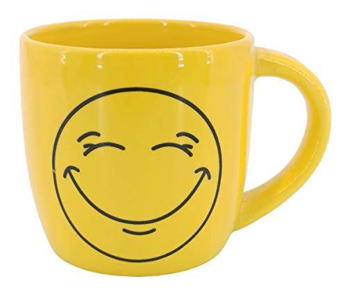 My-goodbuy24 Kaffeetassen - Smiley - gelb - 330ml - Porzellan - Kaffeebecher Cappuccinotassen Espressotassen Teetassen Mug Tassen Becher (Glücklich)