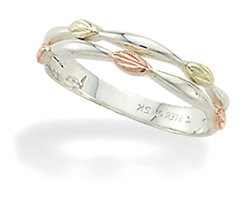 Petite Leaves Ring, Sterling Silver, 12k Gold Pink and Green Gold Black Hills Gold Motif, Size 7