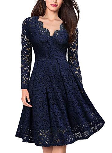 MIUSOL Damen Vintage 1950er V-Ausschitt Cocktailkleid Retro Spitzen Schwingen Pinup Rockabilly Kleid Dunkelblau XL