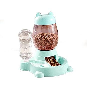 Double Gamelle Chat Surélevée, 2 in 1 Distributeur de Nourriture Eau Fontaine Automatique pour Animaux,Gamelle Double pour Chien, pour Chiens et Chats de Petite Taille ou Moyenne Taille,Vert