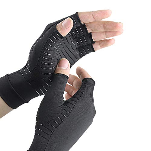 Guantes de artritis de cobre, sin dedos, guantes de compresión para hombre y mujer, para el trabajo diario, ajustables para artrosis y dolor en el túnel carpiano