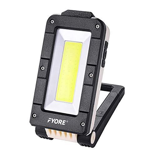Fyore LED Akku Baustrahler Werkstattlampe COB LED Arbeitsstrahler Arbeitsleuchte Arbeitslampe led werkstatt Akkulampe Strahler, USB aufladbar,für Stromausfällen, Zelt, Camping, Notfall usw.